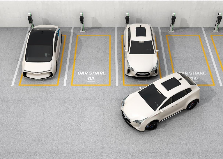 Parkflächen mit Carsharing Autos